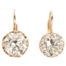 Circa 1900s Edwardian 1.95 Carat Total Weight 9K Yellow Gold Diamond Earrings