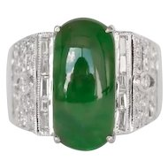 4.00 Carat Natural Jade 18k White Gold Cocktail Ring