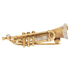 14K Yellow Gold Musical Instrument Brooch