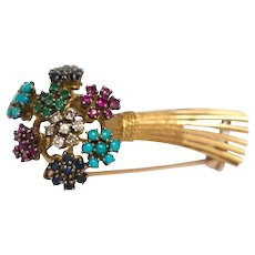18K Yellow Gold Brooch with Ruby, Sapphire Emerald, Turquoise and Diamonds