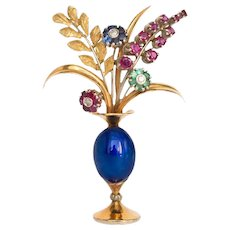 Sapphire, Ruby, Emerald 18K Yellow Gold Brooch with Diamonds