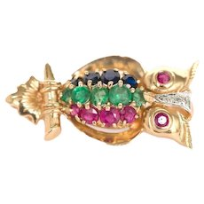 14K Yellow Gold Ruby Emerald and Sapphire Owl Brooch Pin