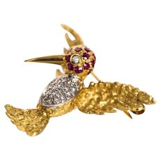 18K Yellow Gold Ruby and Diamond Bird Pin Brooch