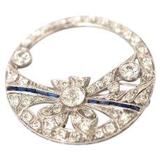 1920s .40 Carat Center Diamond 900 Platinum Brooch with Sapphires