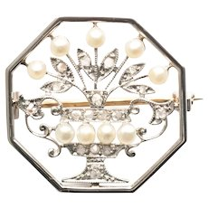 Pearl Platinum and Yellow Gold Tiffany & Co. Brooch