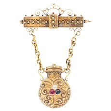1800s 14 Karat Gold Diamond Sapphire and Ruby Brooch with Perfume Bottle