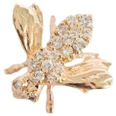 .50 Carat Total Weight Diamond Yellow Gold Brooch