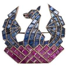 Phoenix Bird Ruby & Sapphire Pin