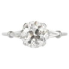 Circa 1930 Platinum GIA 1.39ct Old European Brilliant and .15cttw Tapered Baguette Engagement Ring - VEG#1191