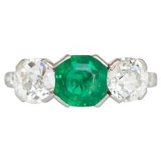Circa 1920 Platinum 1.00ct Colombian Emerald Octagon and .60ct Old European Brilliant and Diamond Engagement Ring- VEG#1193