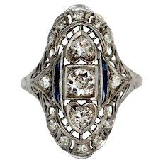 Circa 1920 Platinum .80cttw Old European Brilliant Diamondsand .15cttw Natural Sapphire French Cut Engagement Ring - VEG#1194