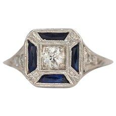 Circa 1920 Platinum .15ct Old European Diamond Engagement Ring-VEG#1486