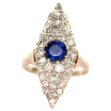 Circa 1890 14k Yellow Gold 1.00ct Old European Brilliant Blue Sapphire with 1.50cttw Old Mind Brilliant Diamonds-VEG#215D