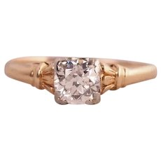 Circa 1920 .55ct Old European Cut Diamond in 14K Yellow Gold and 900 Platinum Prongs - VEG#333