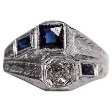 Circa 1920's 18K White Gold Dual Head Engagement Ring with Diamonds & Sapphires - VEG#358