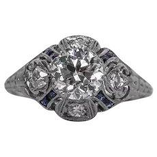 Circa 1930 - 900 Platinum GIA 1.00ct G-SI1 & Sapphire Engagement Ring - VEG#522