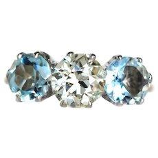 Circa 1910sYellow Gold & Platinum Prong Engagement Ring with 1.05ct Old European Brilliant Cut Diamond with Aquamarines- VEG#625
