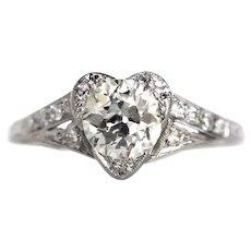 Circa 1920s 900 Platinum GIA 1.01ct Old European Diamond Heart Shaped Engagement Ring with .25cttw Side Diamonds - VEG#642
