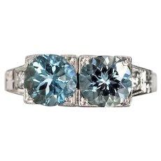 Circa 1930s 900 Platinum 2.25cttw London Blue Topaz & .08cttw Diamond Engagement Ring - VEG#645