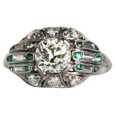 Circa 1920s 900 Platinum 1.04ct Old European Cut Diamond Engagement Ring with .20cttw Side Diamonds & Emeralds - VEG#653