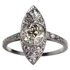 Circa 1920s Platinum Navette Shape GIA 1.10ct Diamond Engagement Ring with .16cttw Side Stone - VEG#701
