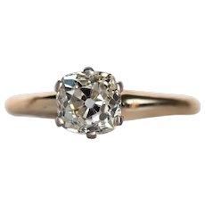 Circa 1900s 14K Yellow Gold & Platinum Head/Prongs 1.26ct Cushion Brilliant Cut Diamond Engagement Ring - VEG#737