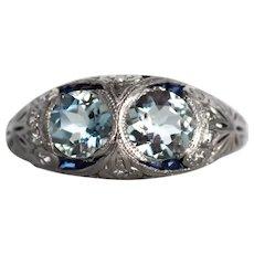 Circa 1920s Platinum Aquamarine, Sapphire, and Diamond Engagement Ring - VEG#741