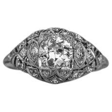1910 900 Platinum 1.10cttw European Cut Diamond Platinum Engagement Ring - VEG #97