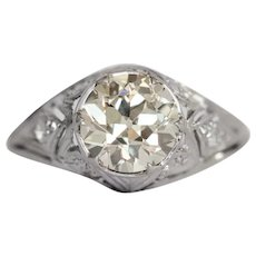 Circa 1920s 1.42ct Old European Brilliant Diamond Engagement Ring-VEG#1028A