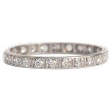 Circa 1920s Art Deco Platinum .50cttw Old European Cut Diamond Wedding Band - VEG#1035