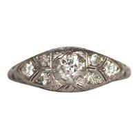 Circa 1920 Platinum .20ct Old European Brilliant Diamond Engagement Ring-VEG#1042A