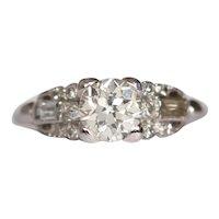 Circa 1930 Platinum GIA Certified .89ct Old European Brilliant Diamond Engagement Ring-VEG#1048A