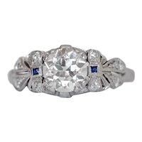 Circa 1920 Platinum .95ct Old European Diamond Engagement Ring-VEG#1053A