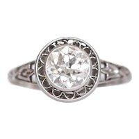 Circa 1920 Platinum 1.00ct Old European Brilliant Diamond Engagement Ring-VEG#1061A