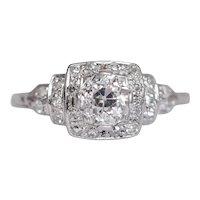Circa 1920 Platinum .93ct Old European Brilliant Diamond Engagement Ring-VEG#1068A
