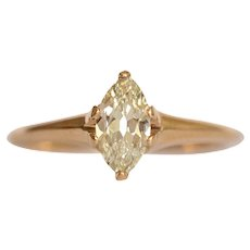 Circa 1910 14k Yellow Gold .73ct Antique Marquise Engagement Ring-VEG#1081A