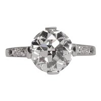 Circa 1920s GIA Certified 2.86ct Old European Brilliant Diamond Engagement Ring-VEG#1095A