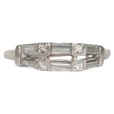 Circa 1940s  Platinum .50cttw Straight Baguette & Transitional Round Cut Diamonds Wedding Band - VEG#1121