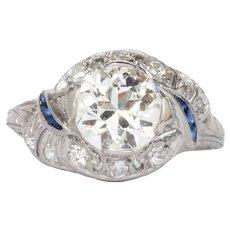 Circa 1920  Platinum GIA 1.61ct Old European Brilliant Engagement Ring-VEG#116A