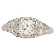 Circa 1910 Platinum .55ct  Cushion Diamond Engagement Ring-VEG#123A