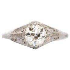 Circa 1920 Art Deco GIA Platinum 1.16ct Circular Brilliant Diamond Engagement Ring-VEG#1266