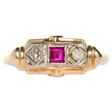 LAYAWAY 1930/'s Antique Ruby /& Diamond Ring in 14K Yellow Gold and Old Miner Cut Diamonds VEG#13