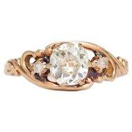 Circa 1890  14k Yellow Gold .86ct Antique Cushion Cut and .04cttw Rose Cut Engagement Ring-VEG#1358