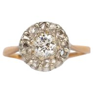 Circa 1890s 14k Yellow Gold Shank and 14k White Gold Head .53ct Old European Brilliant and .20cttw Rose Cut EngagementRing-VEG#1359