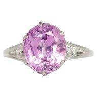 Circa 1910 900 Platinum 5.38ct Antique Oval Pink Sapphire and .08cttw Old European Brilliant Diamond Engagement Ring-VEG#1362