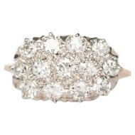 Circa 1910 14k Yellow Gold & Platinum Top .80cttw Old European Brilliant Diamond Engagement Ring-VEG#1466