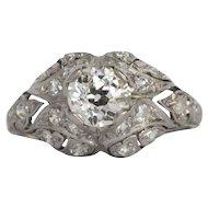 Circa 1910 Platinum .73ct Old European and .10cttw Single Cut Diamonds Engagement Ring-VEG#1366