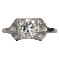 Circa 1930 Platinum GIA 1.57ct Circular Brilliant Diamond Engagement Ring-VEG#1369