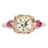 Circa 1890 10k Yellow Gold GIA 1.23ct Old European Diamond Engagement Ring-VEG#1397