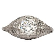 Circa 1920 Platinum GIA .85ct Round Brilliant and .15cttw Single Cut Diamond Engagement Ring-VEG#1400